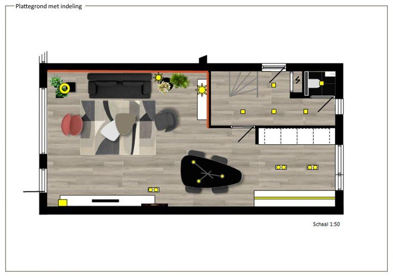 plattegrond met indeling op schaal MB Homedesign