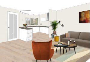 Perspectief ontwerp keuken Bilthoven